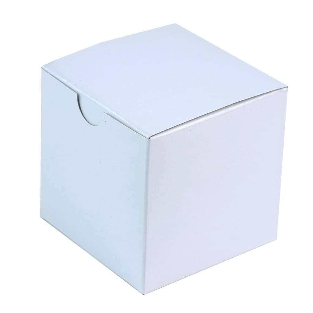 White favor boxes for wrapping up peppermint bark and other treats
