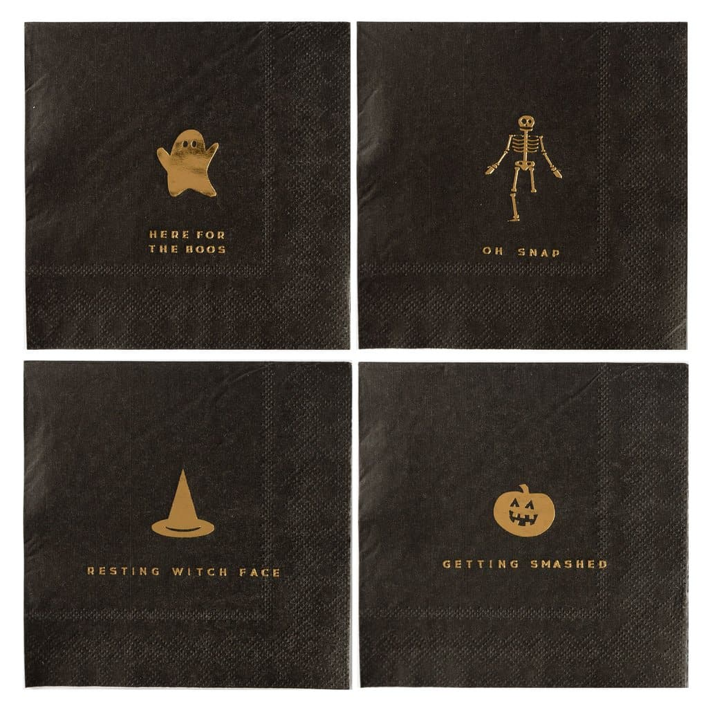 Halloween party napkins for cocktails and desserts in black with gold foil puns - skeleton, ghost, witches hat and smashing pumpkin