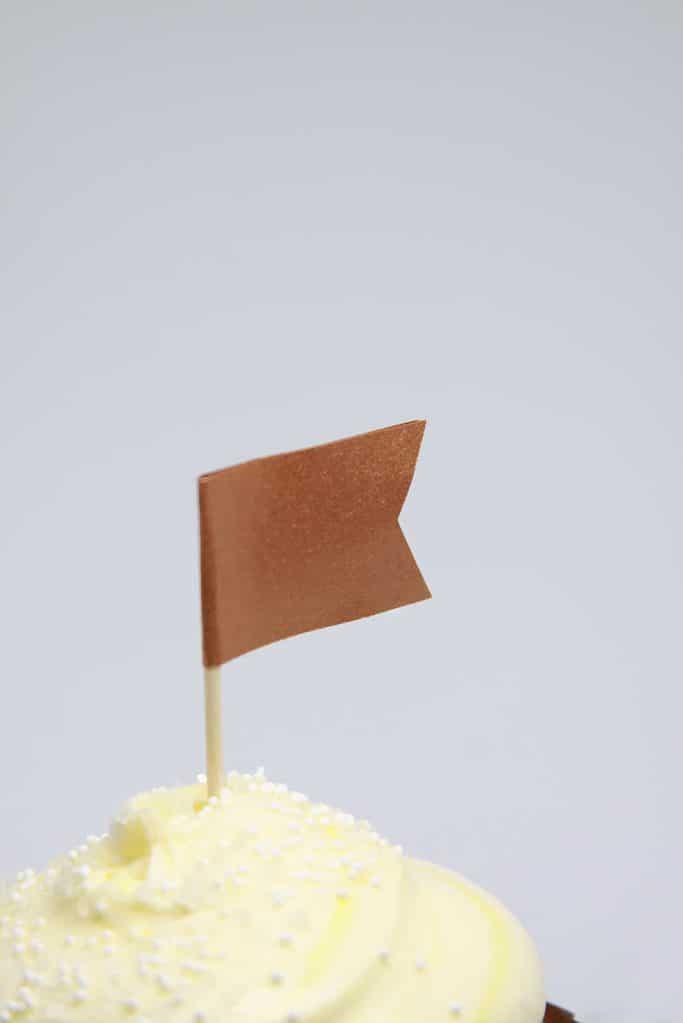 Fall cupcake topper in copper -perfect on a pumpkin cheesecake muffin!