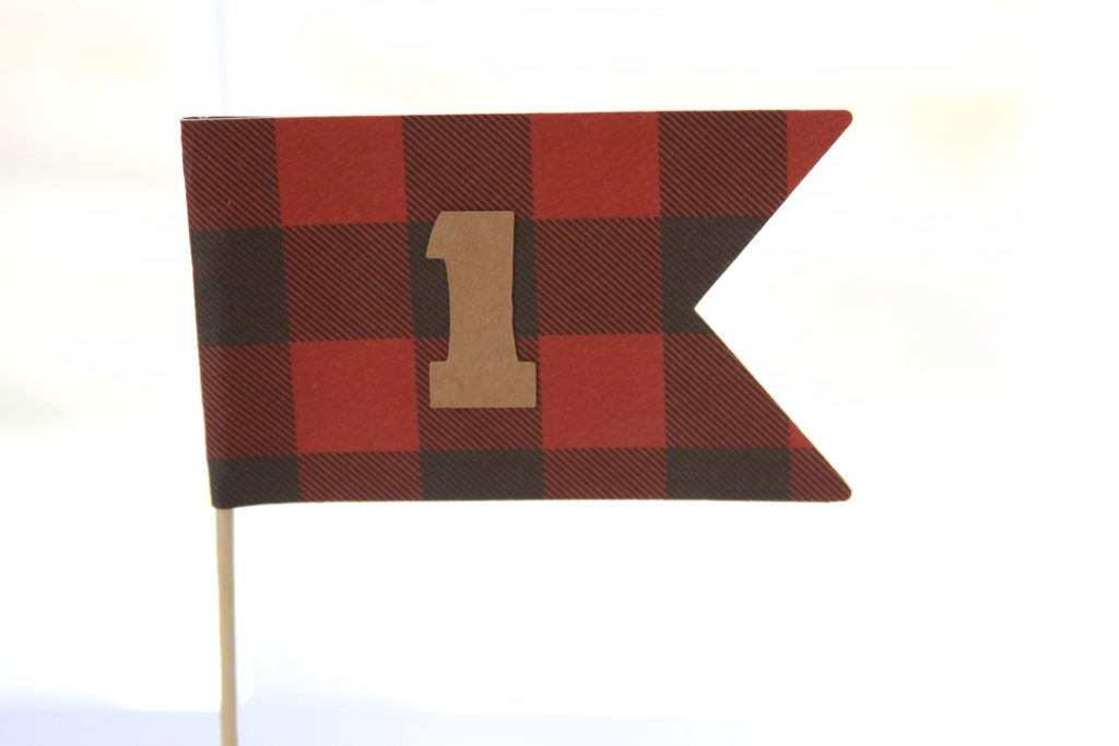 buffalo check number 1 cake smash flag perfect for a little lumberjack birthday party.