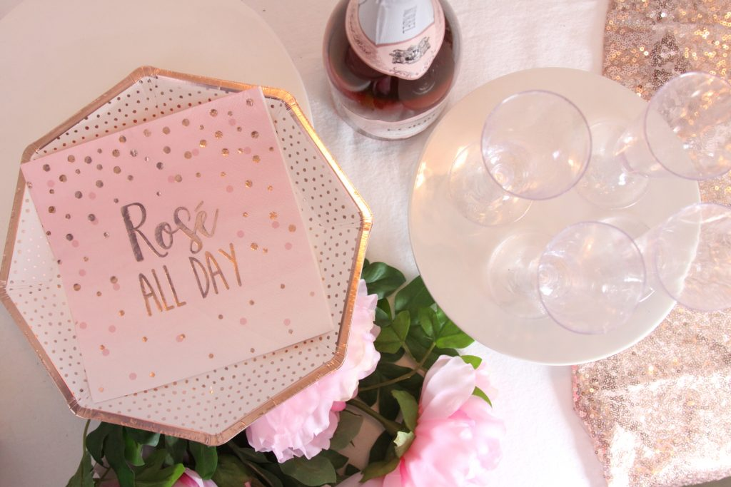 Rose all day napkins and blush glitter boutique disposable champagne flutes from EnFete Party Decor