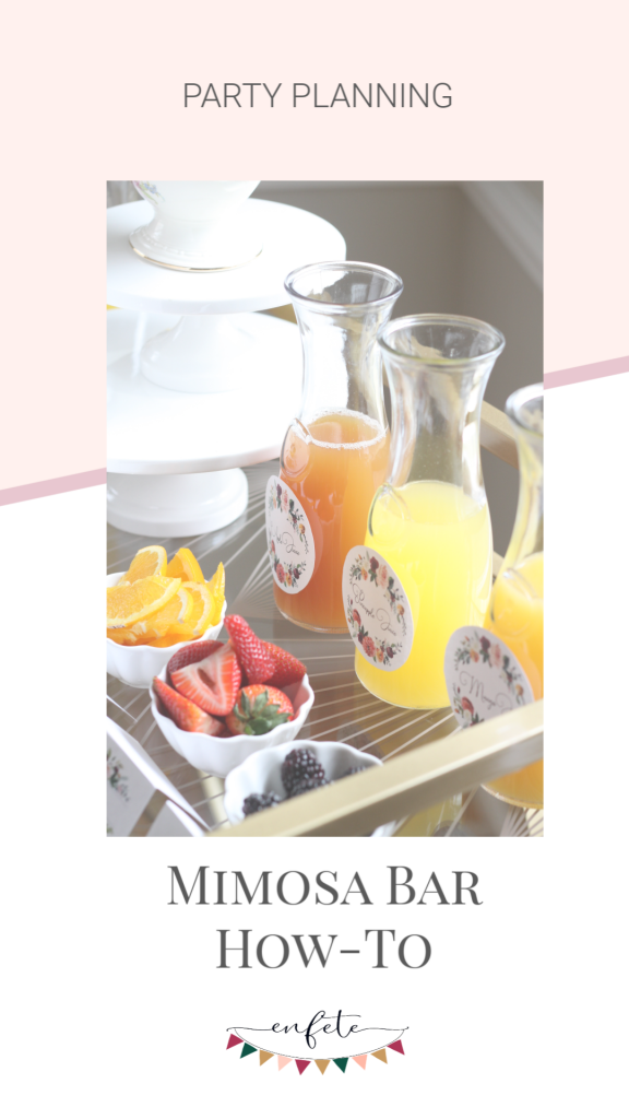 Mimosa Bar Guide - complete with a How To Setup Graphic - perfect for spring bridal shower and baby showers, complete with a link to our Mimosa Bar Printables.