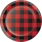 lumberjack 1st birthday tableware idea - a 7 inch black and red buffalo check paper dessert plate.