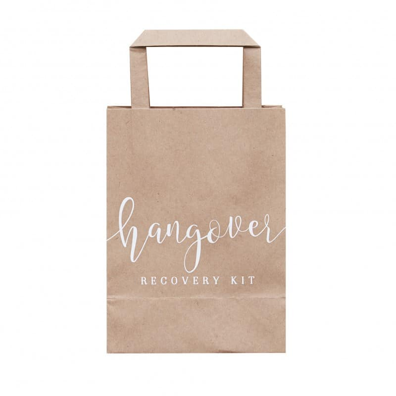 Hangover Kit bags in kraft brown and white script writing, for when you've had to many cocktails at the Kentucky Derby Party