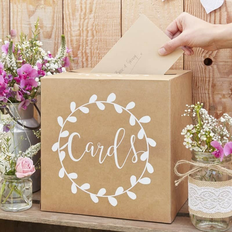 A kraft brown cards post box is perfect for a fall wedding.  It complements this kraft, black, cream and gold wedding color scheme perfectly.
