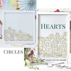 Drop box guestbook frame with wooden hearts or circles as an alternative wedding guestbook