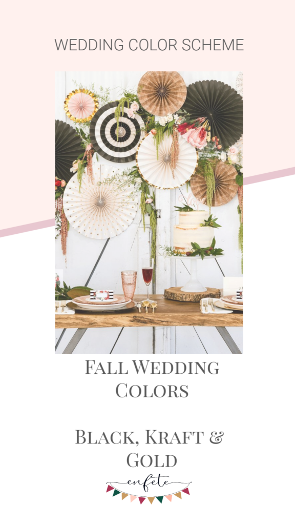 Fall Wedding Color Scheme of Black, Kraft, Cream and Gold for a beautiful and affordable DIY wedding