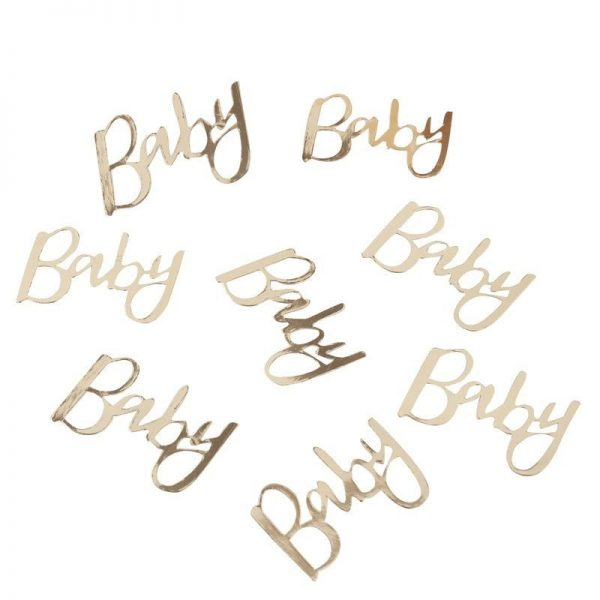 Gold Baby Confetti in metallic gold for an Oh Baby Baby Shower
