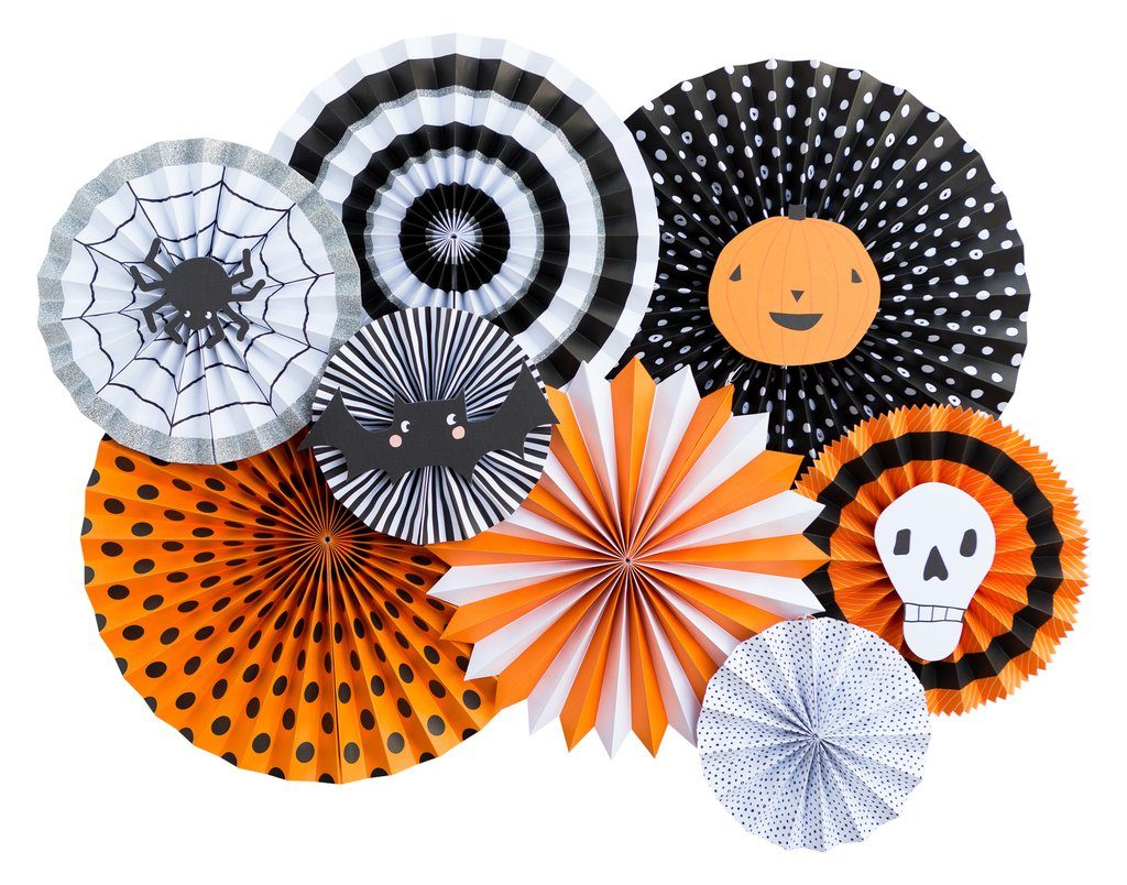 Halloween party decor in black and orange -paper fan backdrop