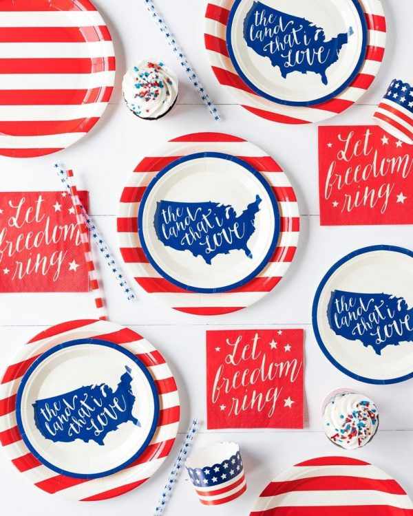 Americana Paper Plates and Napkins. Red, white and blue tableware for 4th of July, Memorial Day, Labor Day or a military retirement party