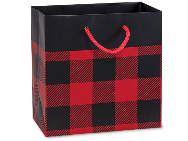 Black and red buffalo plaid bag as an idea for favors for a lumberjack first birthday party