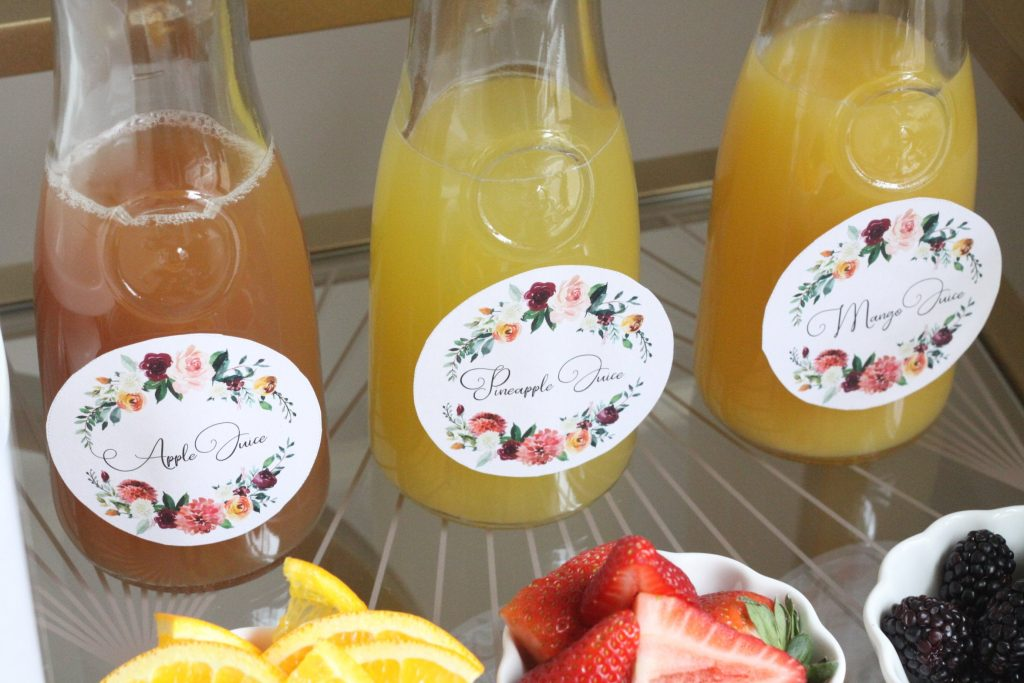 Mimosa Bar printable juice labels in a beautiful floral pattern