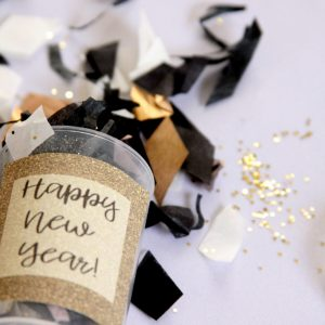 New Year's Eve Wedding Confetti Poppers - Wedding Send Off Idea in gold and black