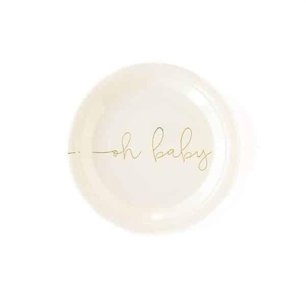 gold oh baby cake plates - cream background 7 inch round