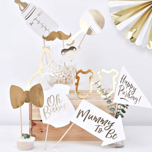 Gold Oh Baby Photo Booth Props Set