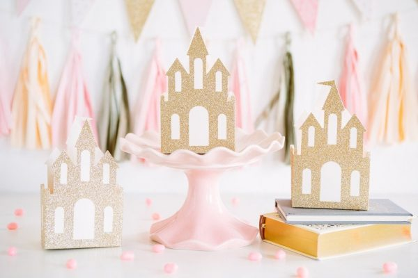 Princess Party Castle favor boxes in gold glitter with pink interiors