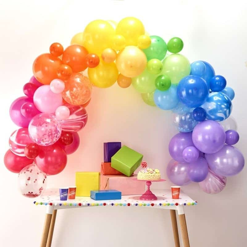 Rainbow balloon garland kit - makes the perfect balloon arch for a rainbow or unicorn party - the perfect backdrop to serve your unicorn bark!