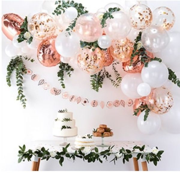 Rose gold balloon garland arch kit for a bridal shower or baby shower