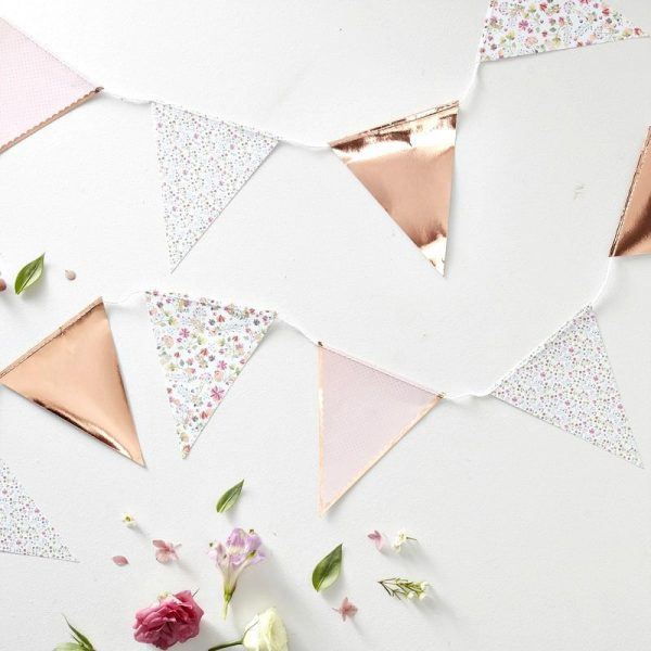 Rose gold and floral baby shower bunting