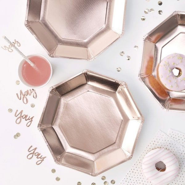 Rose Gold Paper Plates and party supplies for tablescapes