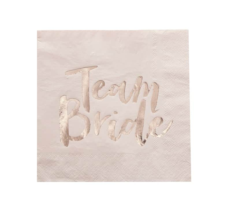 Blush pink napkins with Team Bride in rose gold foil.