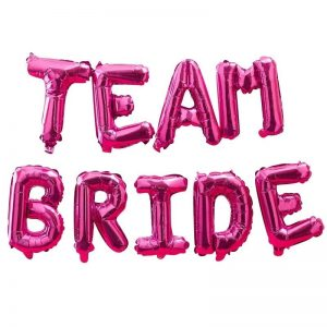 Team Bride Balloon Letters in Hot Pink Mylar for a bridal shower backdrop