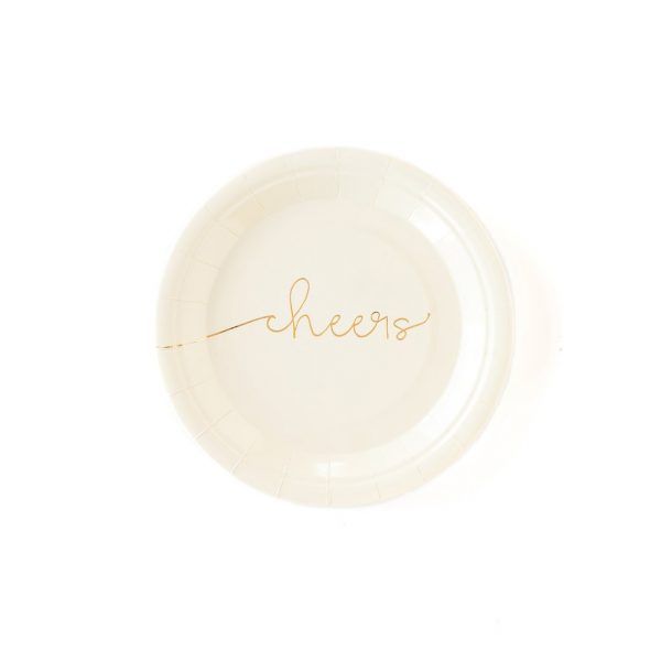 Cheers cake plates in ivory with gold script cheers. Perfect for retirements, engagement party, anniversaries and more.