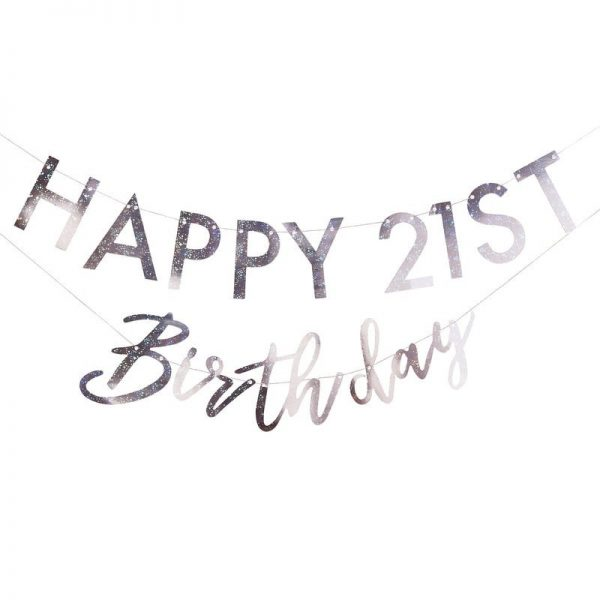 Happy Birthday Custom Birthday Banner in Iridescent foil for any age backdrop