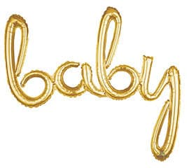 Gold baby balloon - script letters, air fill only 39 inches long
