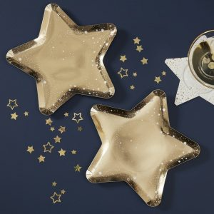 Gold Star Paper Plates perfect for a Celestial birthday or twinkle twinkle little star baby shower