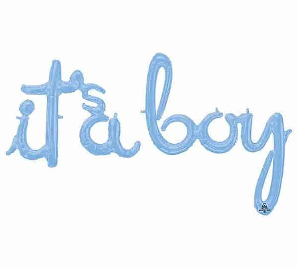 It's a Boy Baby Shower Balloon. Script it's a boy banner.
