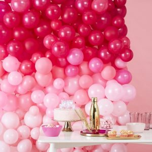 Pink Ombre Balloon Wall Kit for a baby girl shower, bridal shower or birthday party. Make a great proposal backdrop!