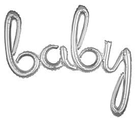 Silver Baby balloon - script letters for a baby shower backdrop. Coordinates beautiful with a Baby and Co shower.