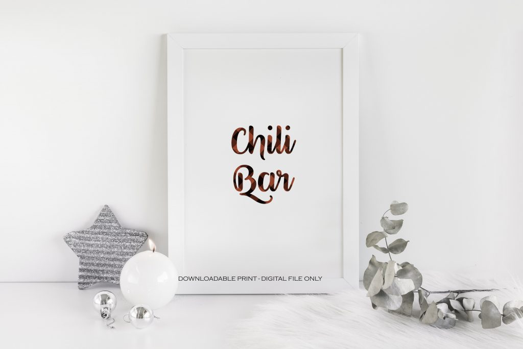 Lumberjack Chili Bar printable sign in red and black buffalo check.  Use for your lumberjack birthday party.