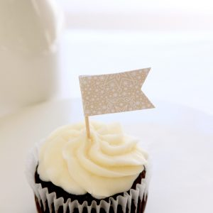 Baby It's Cold Outside Baby Shower Cupcake Toppers with sweet white snowflakes on tan paper