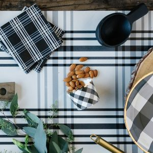 Black and White Buffalo check food cups or baking wrappers on the whole black and white plaid party supply collection