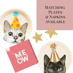 cat plates and napkins for a birthday or New Year's Eve party