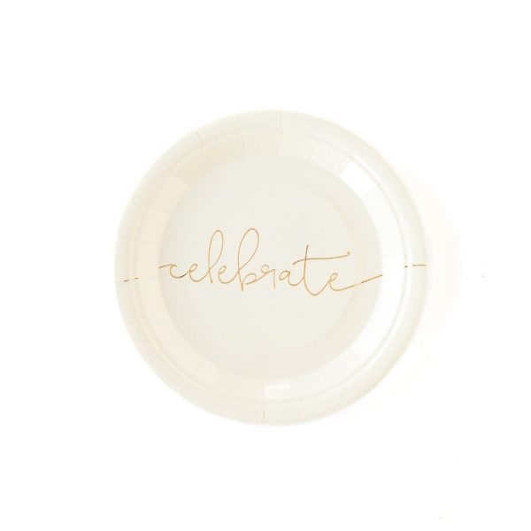cream and gold celebrate plates for cake and other desserts perfect for engagements, retirements, New Year's Eve