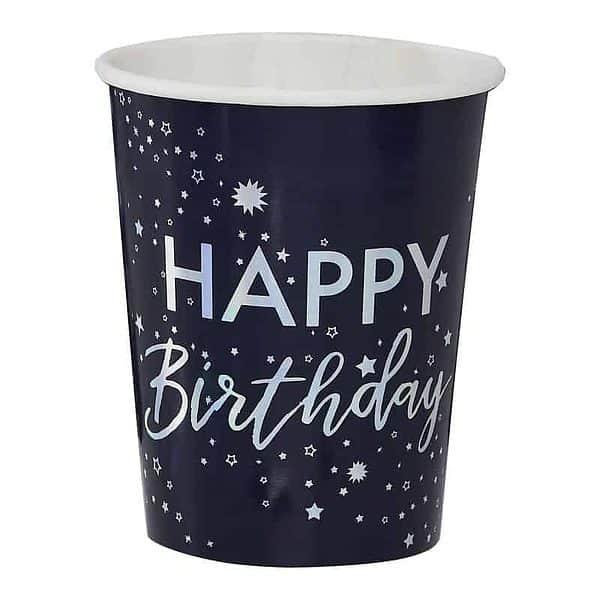 Set of 8 Celestial Happy Birthday Cups