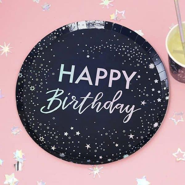 Set of 8 celestial happy birthday plates