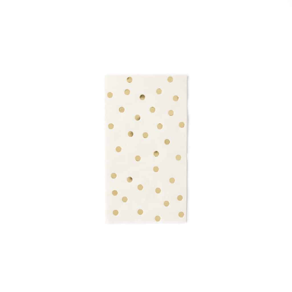 Cream and gold polka dotted wedding tableware dinner napkins for an elegant fall DIY wedding.  These are the perfect colors for a fall wedding.