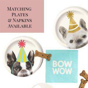 dog birthday plates and napkins