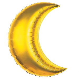 Giant Gold Crescent Moon balloon 35 inches