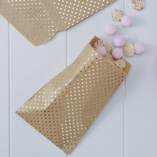 Kraft brown with gold polka dotted trick or treat, make your own advent bags or gold wedding favor bag.