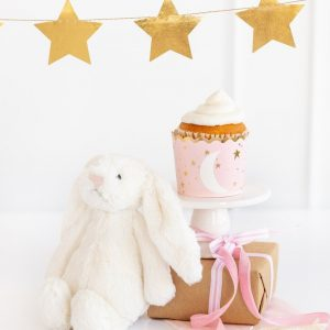 Pink and Gold Baking cups with gold stars for a Moon and Stars baby girl shower