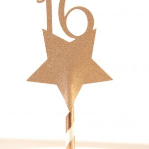 Rose Gold Star Sweet 16 cake topper