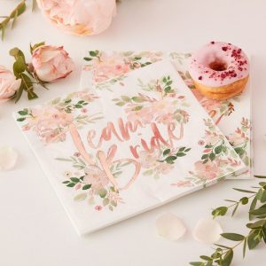 Floral Team Bride Napkins for a floral bridal shower - perfect rose gold tableware