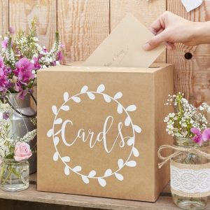 kraft wedding card box for rustic wedding and baby shower