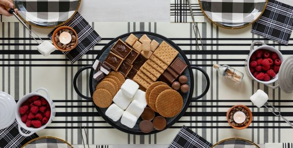 S'mores Party Background - with our Plaid Paper Table runner perfect for a fall wedding celebration or backyard party