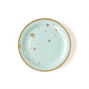 Baby blue and gold paper plates perfect for a moon and stars baby shower